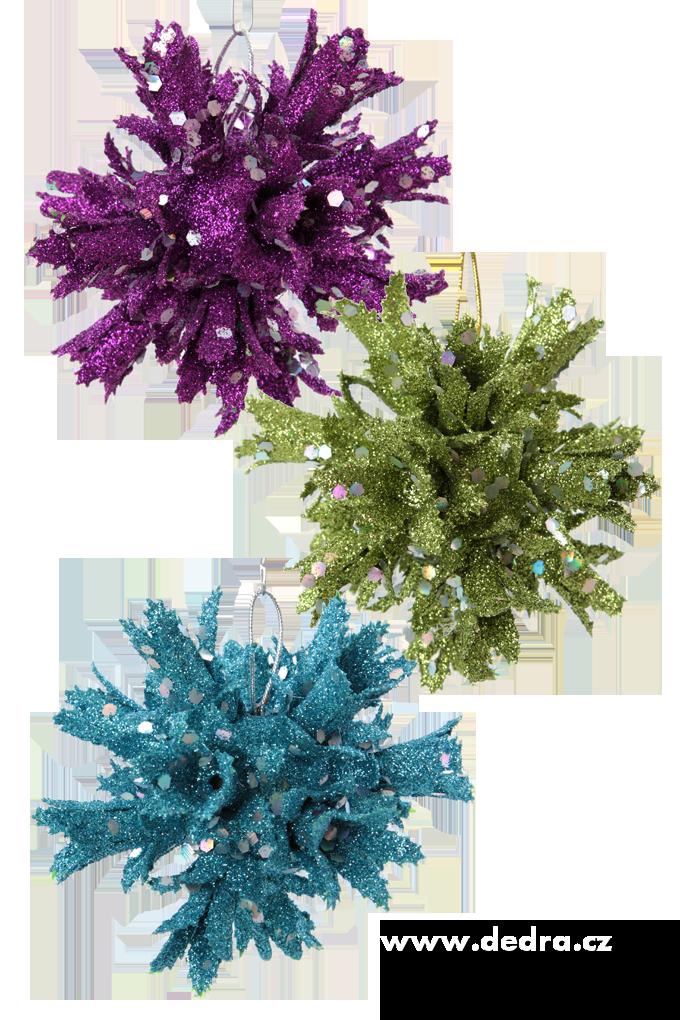 3 ks vzdušných, třpytivých ozdob, modro-fialovo-zelené