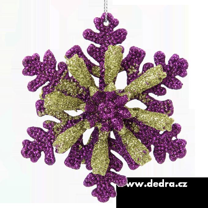 Velká třpytivá oboustranná vločka fialovo-zelená