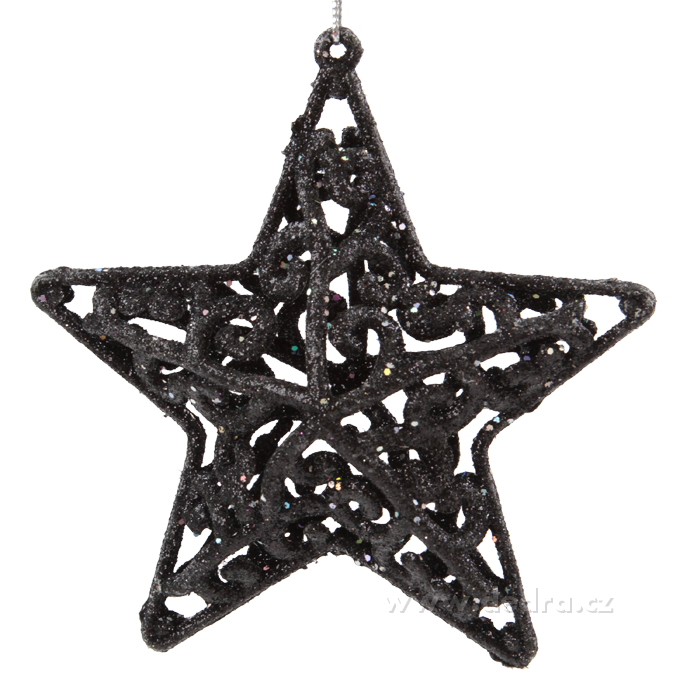 3 ks velké třpytivé hvězdy, krajkového vzhledu 11 cm