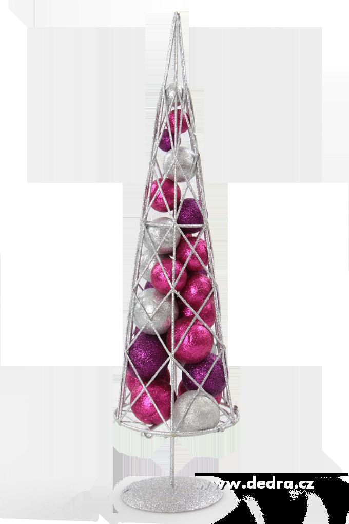 42 cm Moderní stromek, s třpytiv.kouličkami