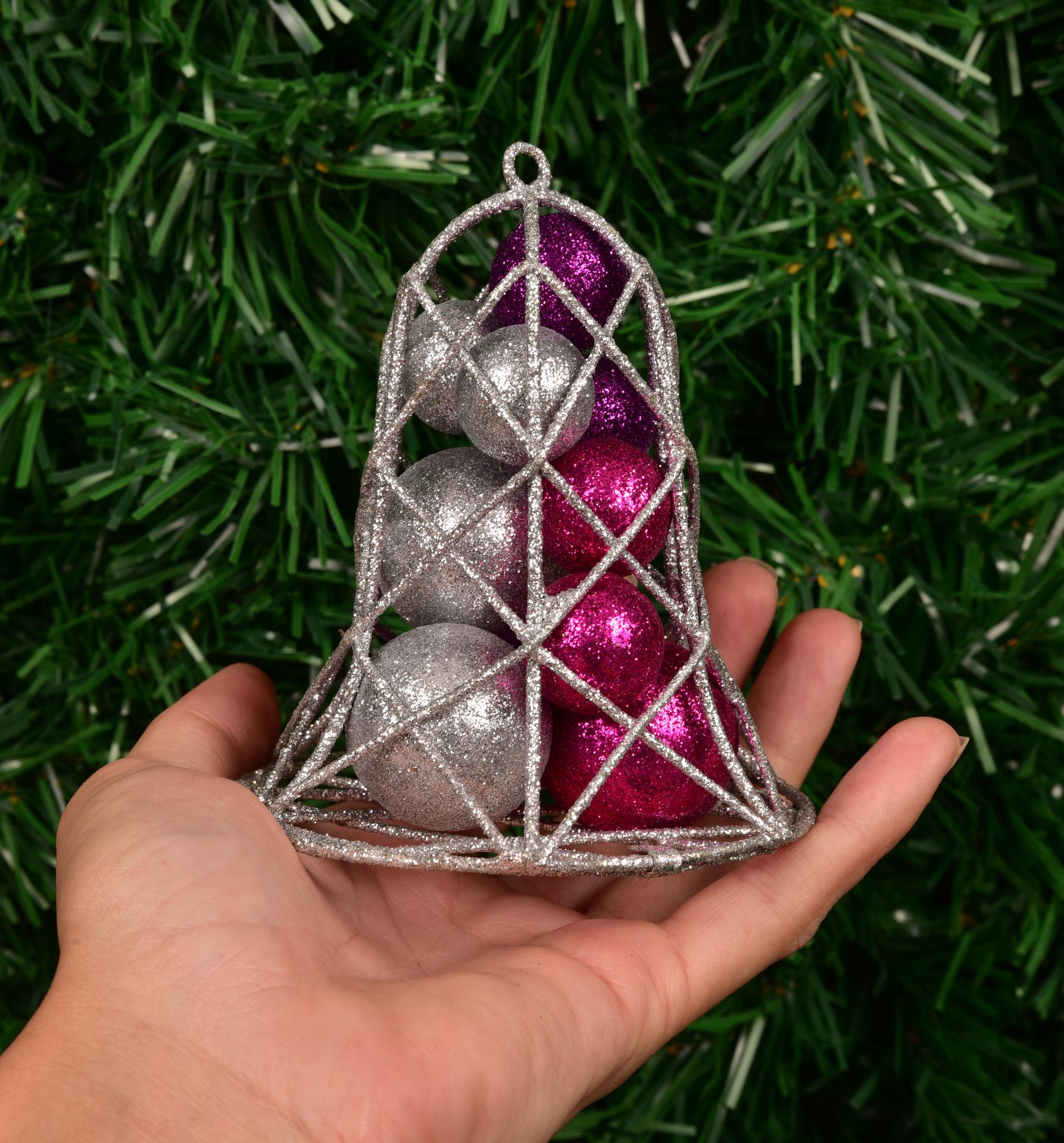 Velký vánoční zvonek s třpytiv.kouličkami