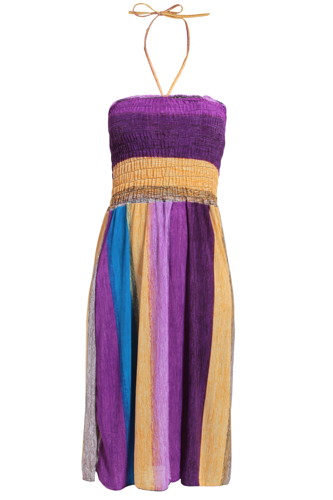 MIRIAM šaty, fialovo-oranž.-modré