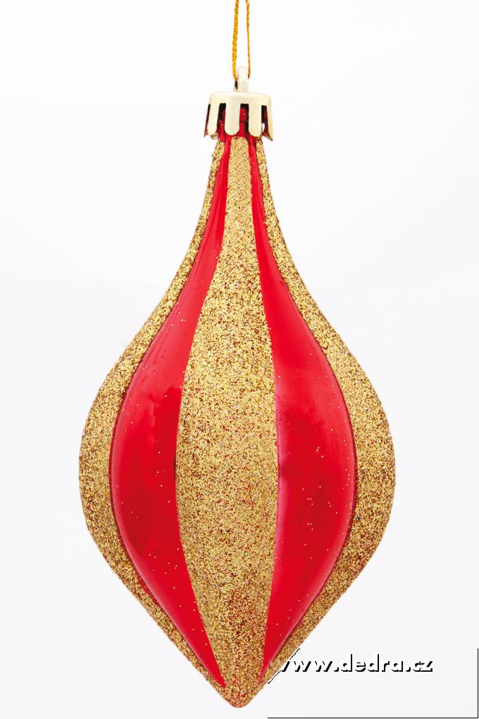 6 ks ozdob kapka lesk a třpyt červeno-zlaté