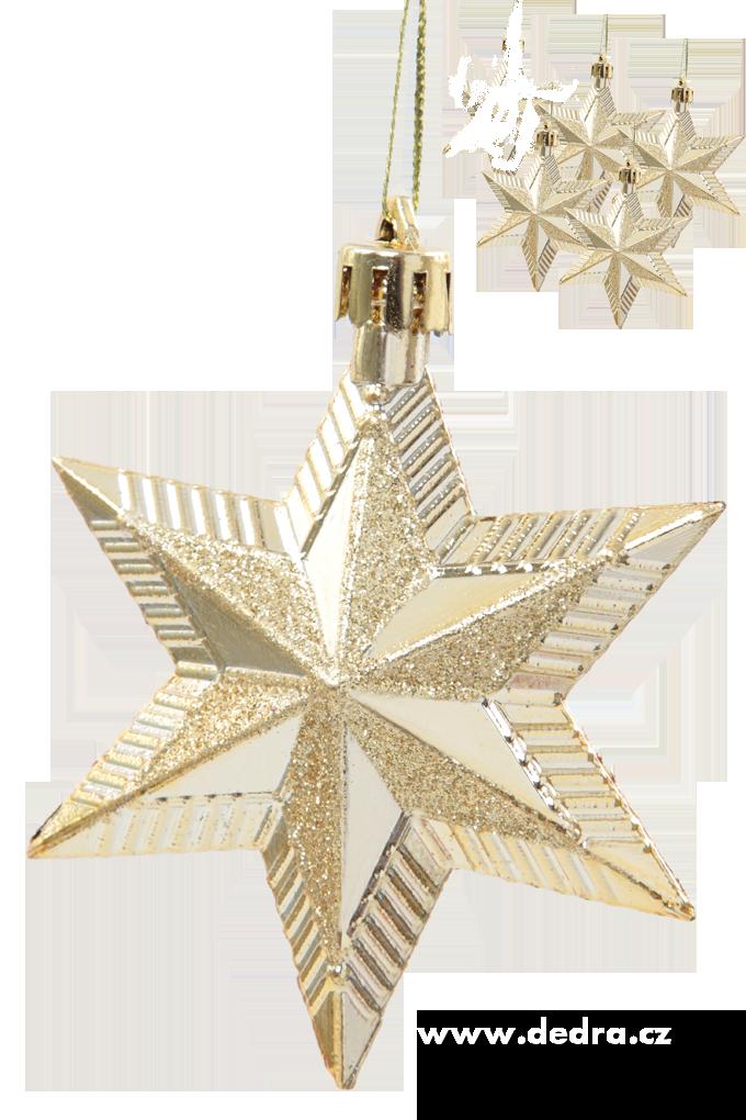 5 ks ozdob hvězda s třpytivou malbou zlaté