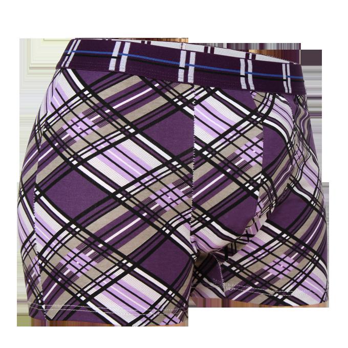 Boxerky fialové kostkované  L