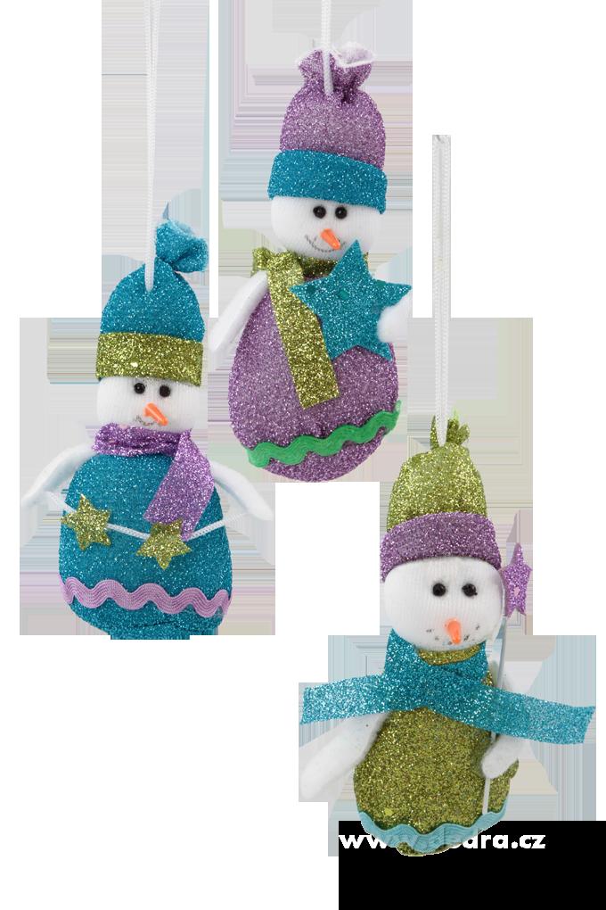 3 třpytiví sněhuláci, textilní dekorace 17 cm