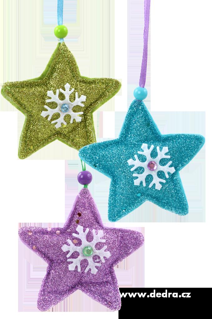 3 třpytivé textilní hvězdy, ruční výroba
