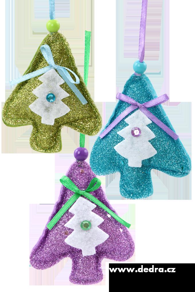 3 třpytivé textilní dekorace - stromky