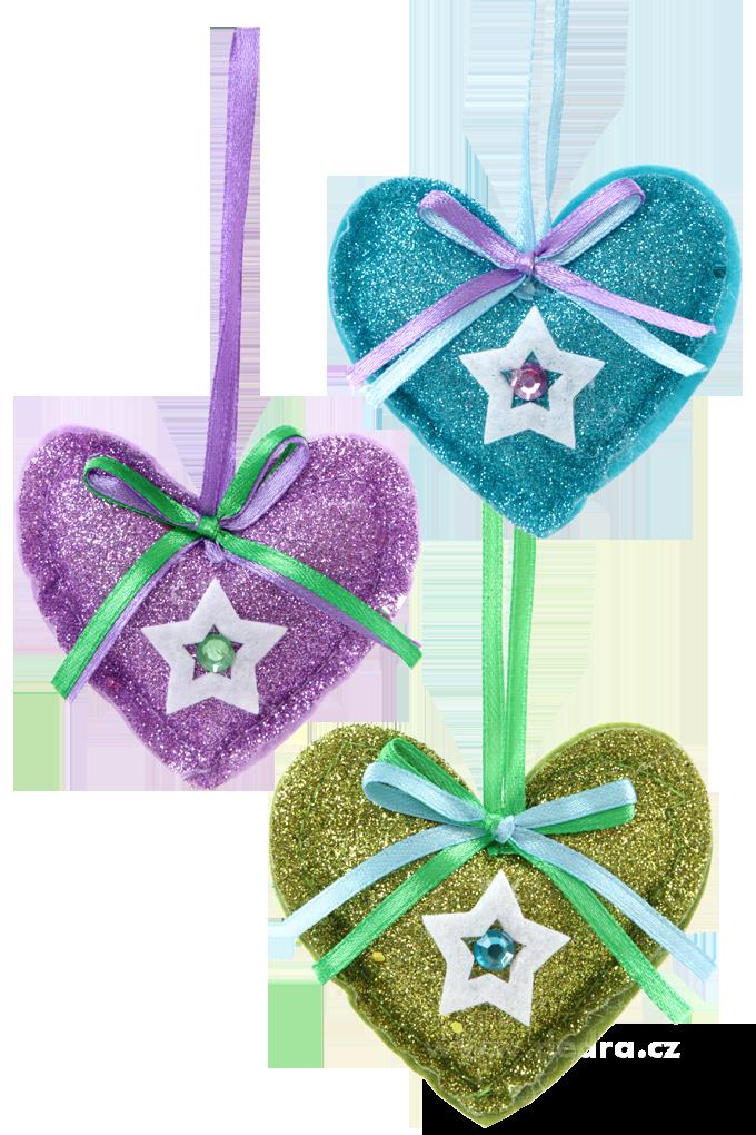 3 třpytivé textilní dekorace - srdce