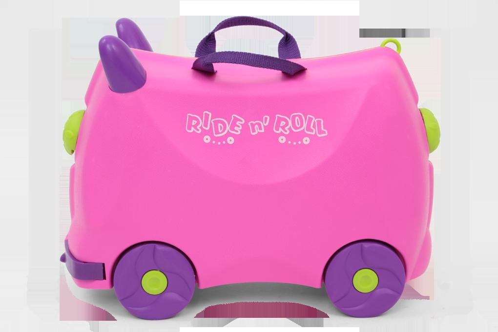 Veselý auto-kufr pro děti fuchsiový cestovní zavazadlo