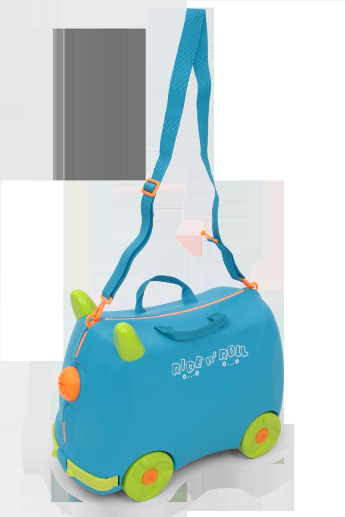 Veselý auto-kufr pro děti modrý cestovní zavazadlo