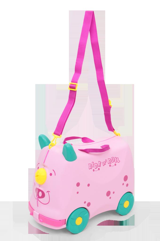 Veselý auto-kufr, pro děti růžový