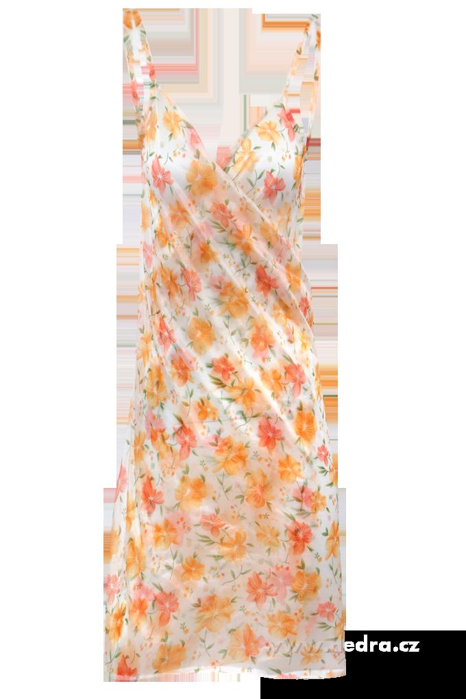 PAREONCCINI s oranžovými květy zavinovací šaty