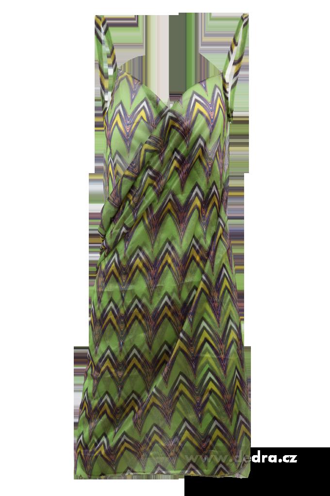 PAREONCCINI smaragdové se vzorem zavinovací šaty