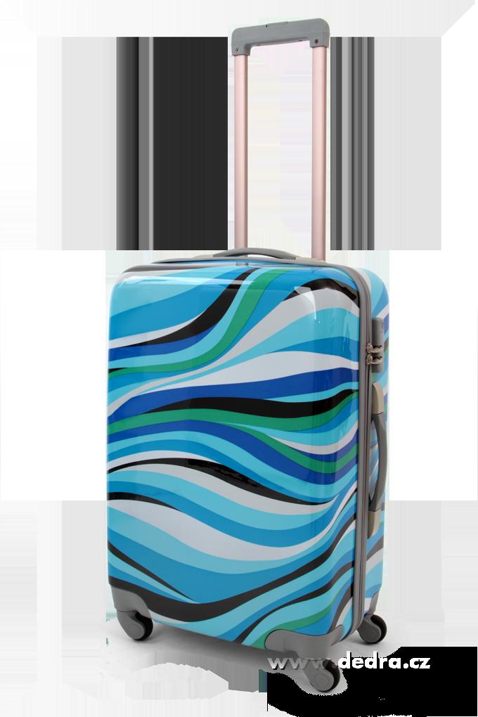 Skořepinový střední kufr,60 x 44 x 26 cm blue waves