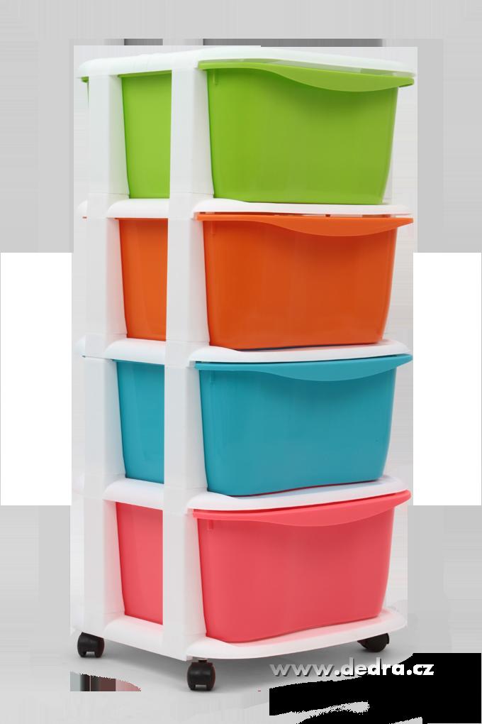 QUATRO maxi regál se 4 boxy a kolečky multicolor