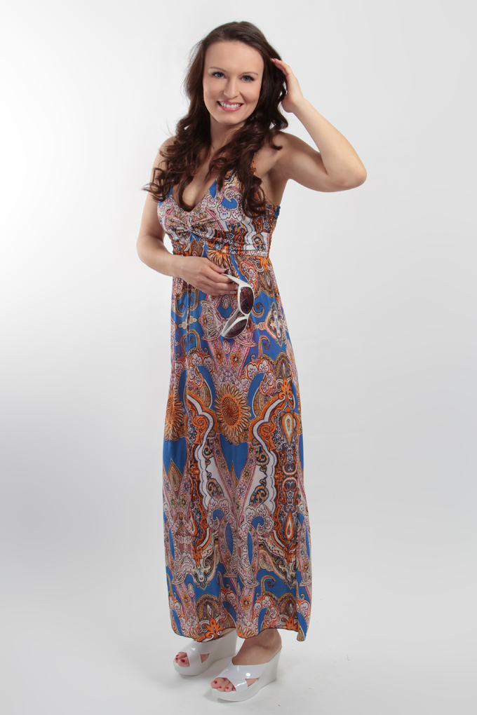 FC7549S-LACEY dlhé šaty indický motív