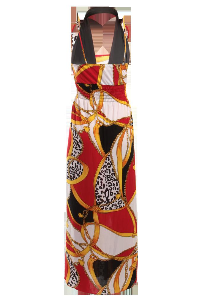 FC7574-RADELLA dlhé šaty na ramienka zlat-červ-čierno-biele