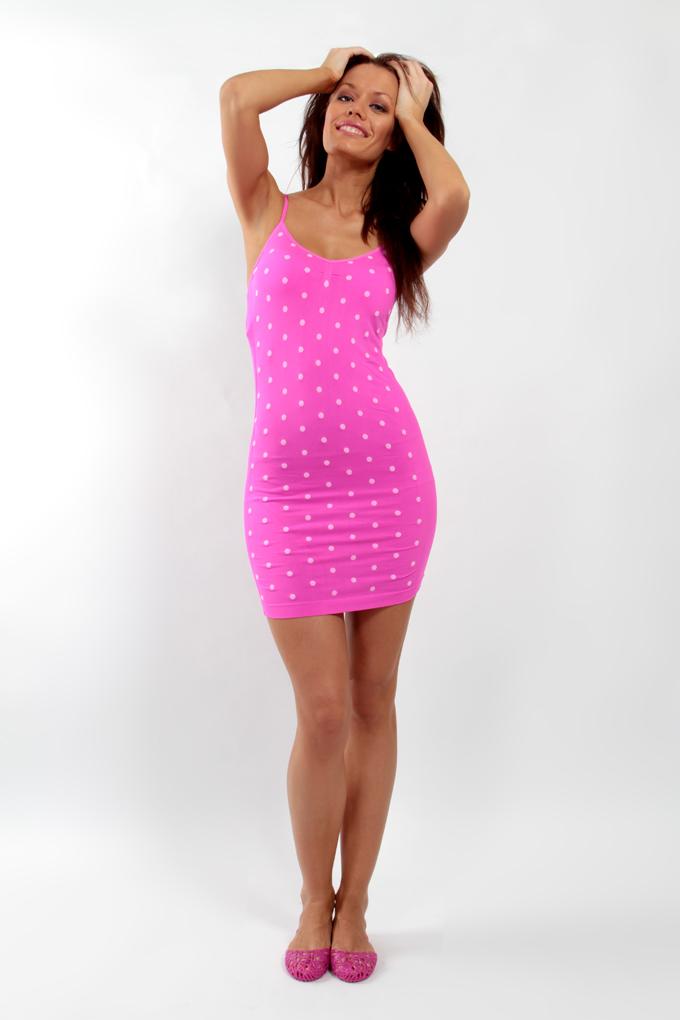 FC75942-Saleen pink ramienkové mini šaty