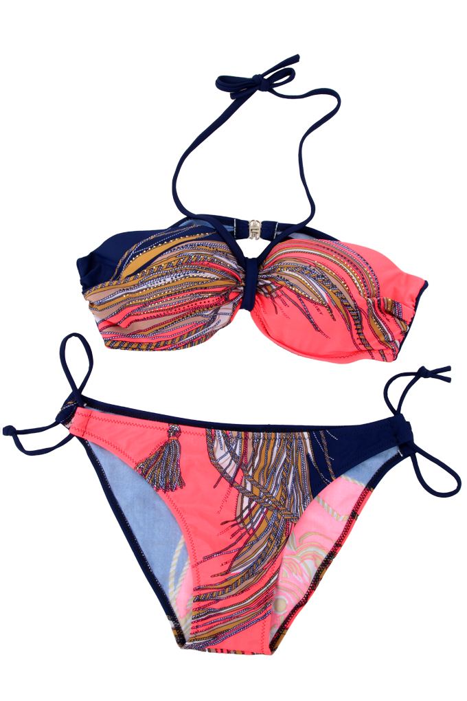 KACY dvoudílné plavky modro/reflex.oranž. vel. 1