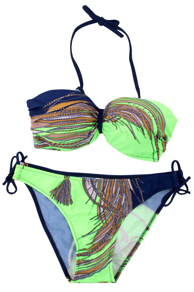 KACY dvoudílné plavky modro/reflex.zelené vel. 1