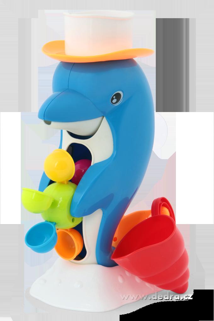 Delfín s otočným vodním mlýnkem s bílým kloboučkem