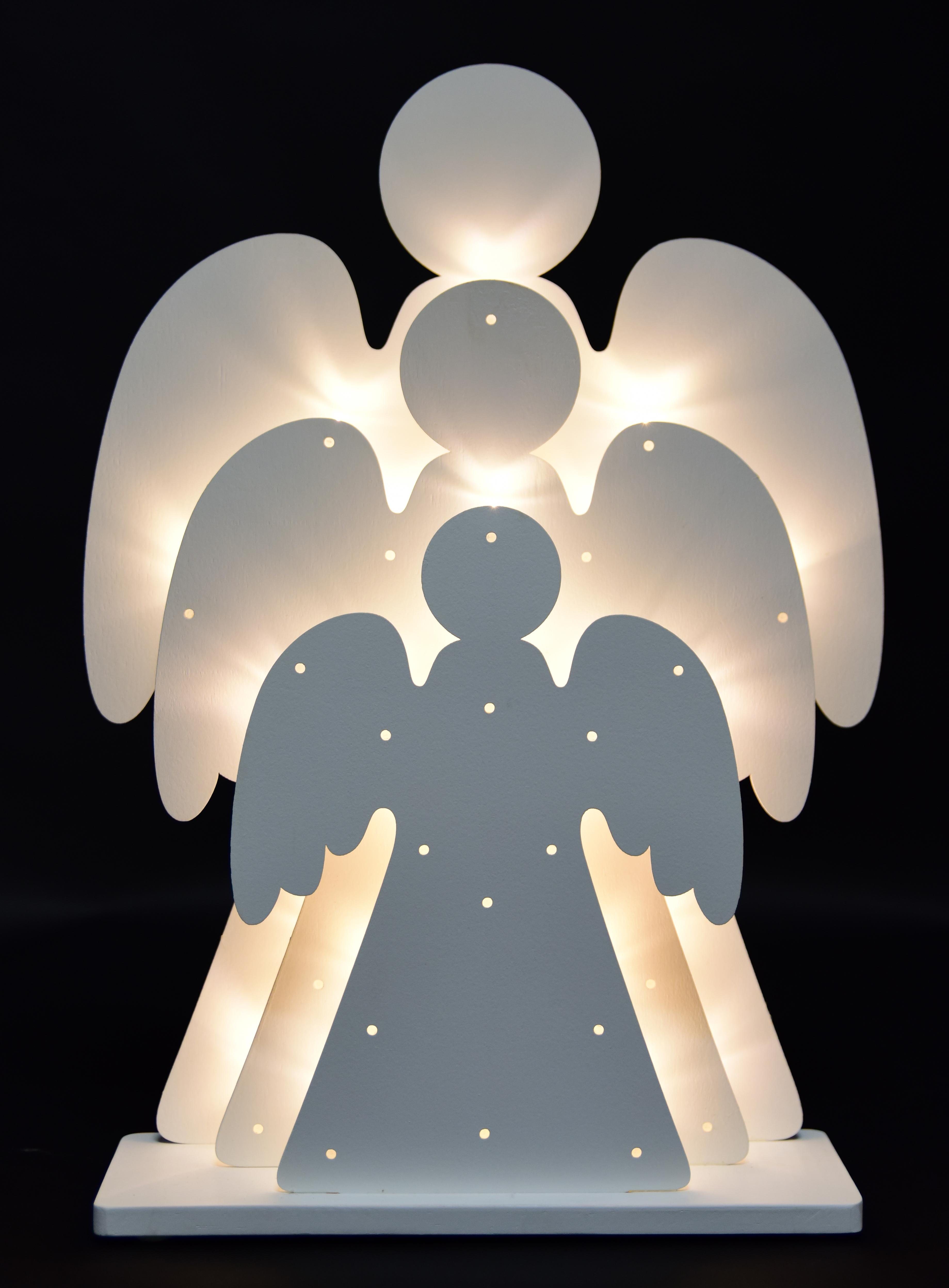 Tři svítící andělé s 30 LED zárovičkami