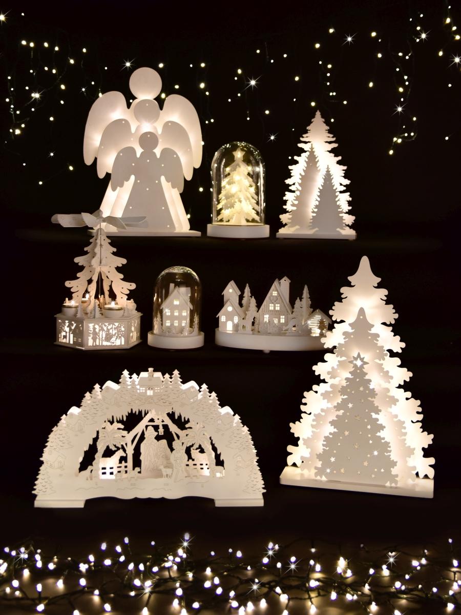 DA78683-Tri anjeli 46 cm s 30 LED žiarovkami