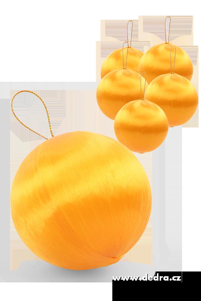 6 ks saténové koule oranžové