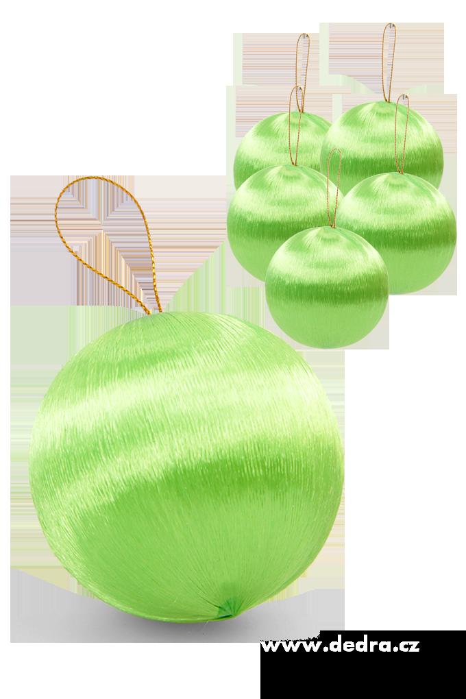 6 ks saténové koule jasně zelené