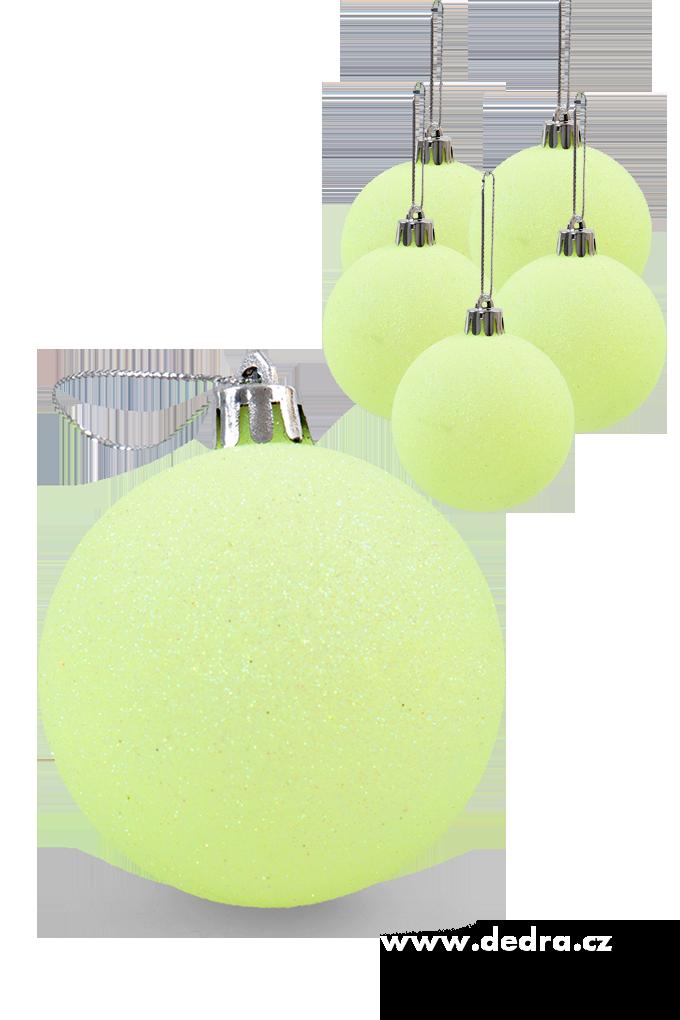 6 ks koule vysoce třpytivé zelené