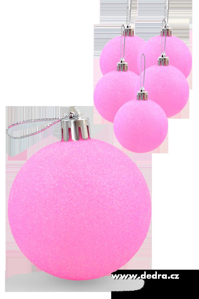 6 ks koule vysoce třpytivé pink