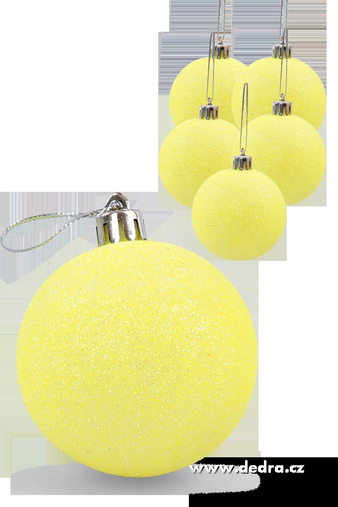 6 ks koule vysoce třpytivé žluté