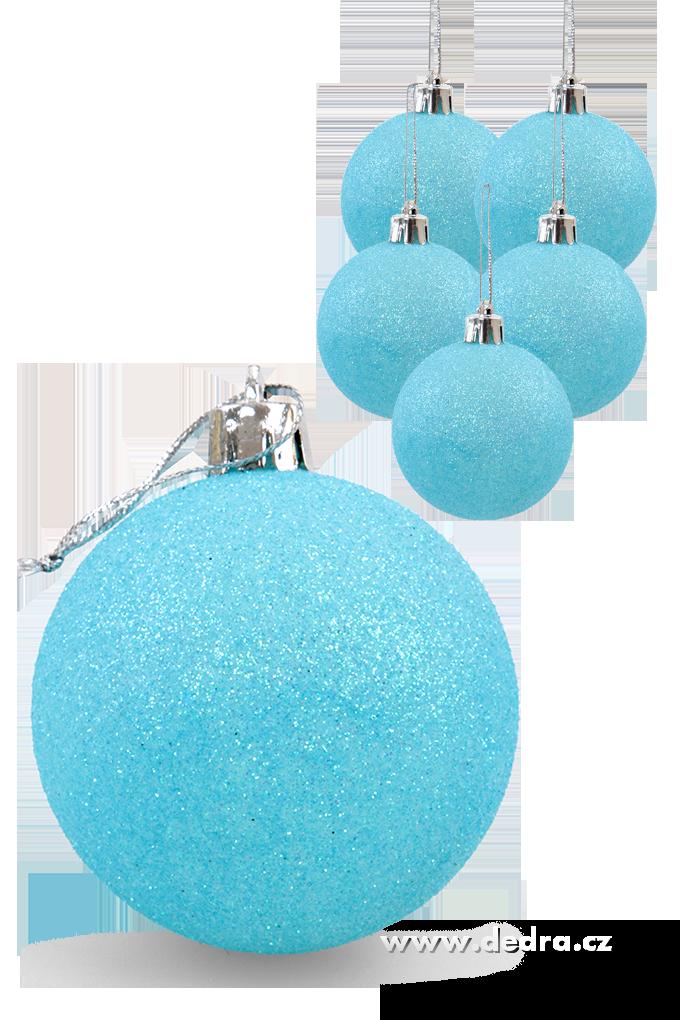 6 ks koule vysoce třpytivé modré