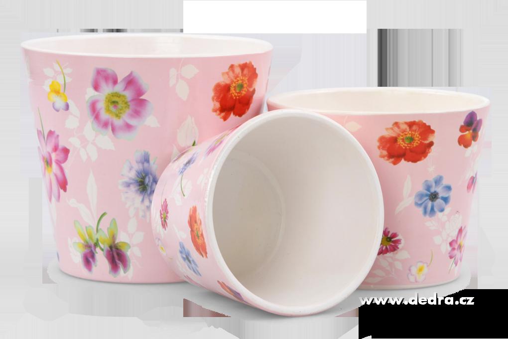 3 ks keramickýchobalů na květináčs květinovým motivem
