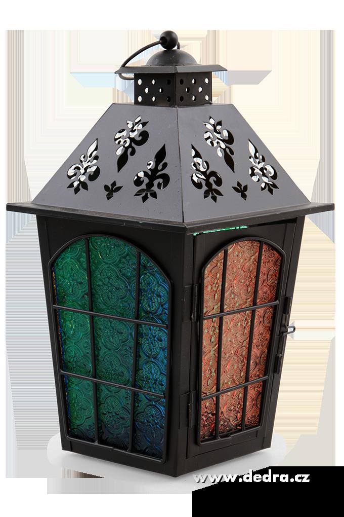 Velká kovová lucerna, s barevnými výplněmi