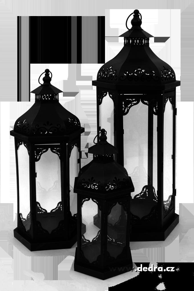 Sada 3 ks - velká kovová lucerna černá