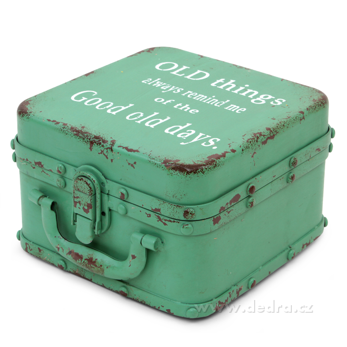 Velká plechová dóza ve tvaru kufříku zelená