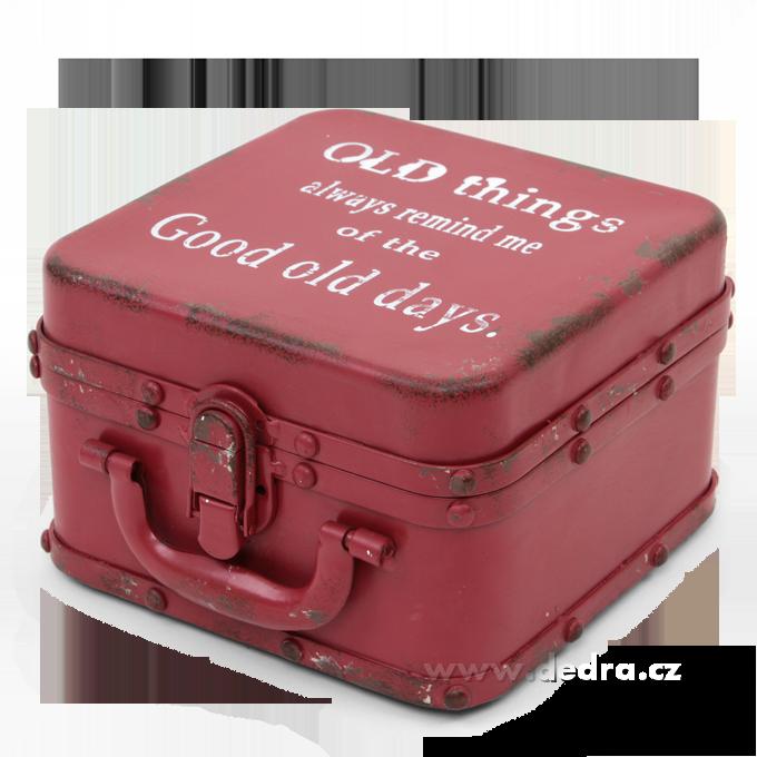 Velká plechová dóza ve tvaru kufříku červená