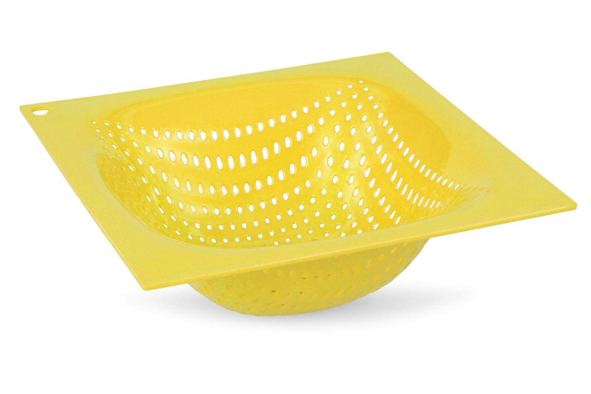 Chytrej cedník z kvalitního plastu hranatý žloutkový