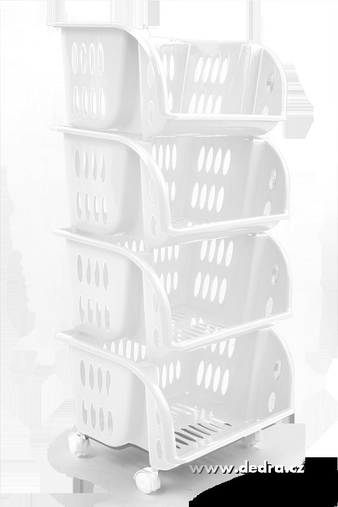 4 patrový plastovýregál na kolečkáchbílý