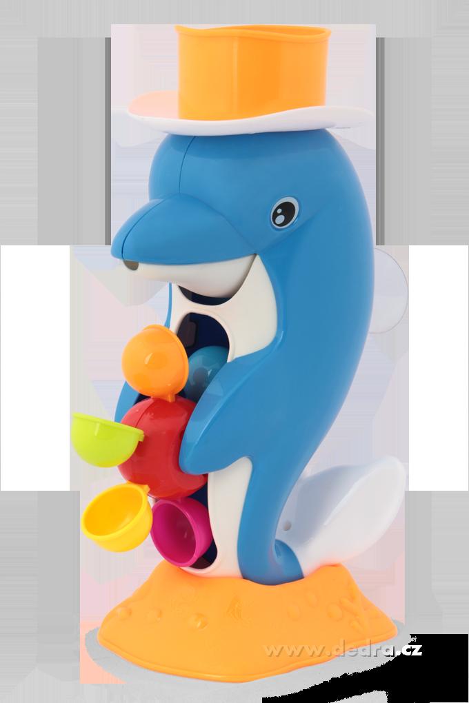 Delfín s otočným vodním mlýnkem do vany  s oranž. kloboučkem