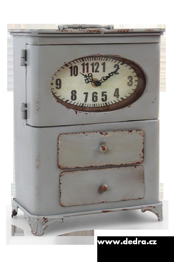 Kovová skřínka, s hodinami,2 zásuvky