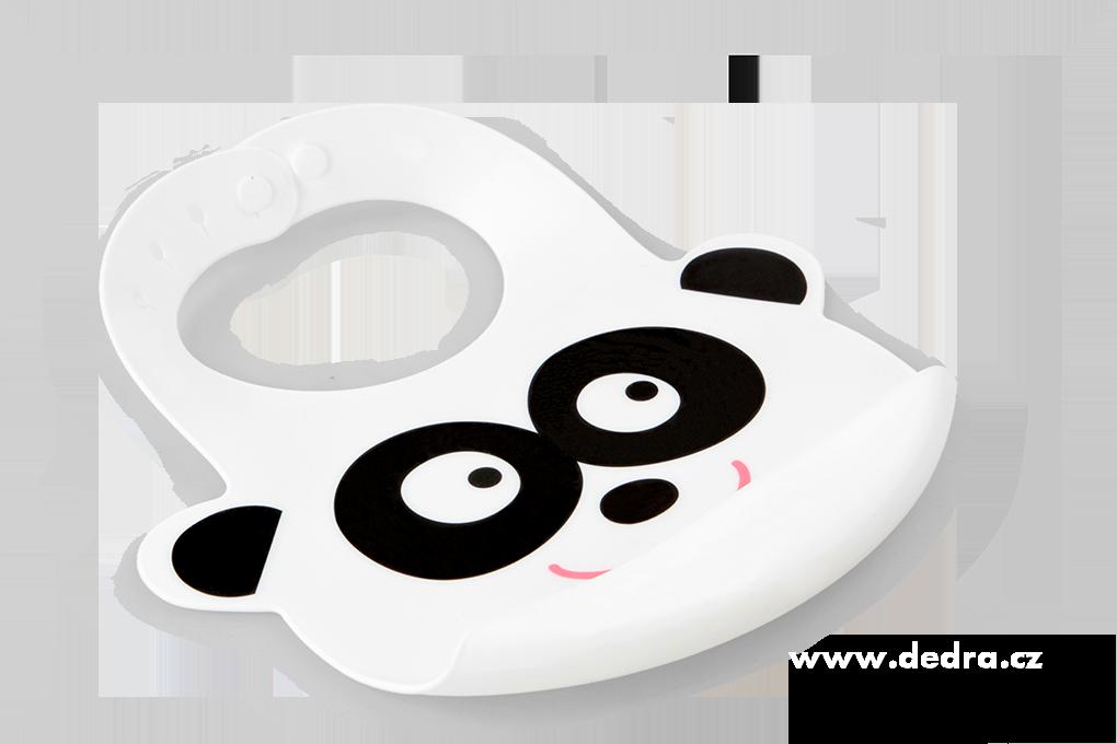 Silikonový bryndák voděodolný PANDA s korýtkem