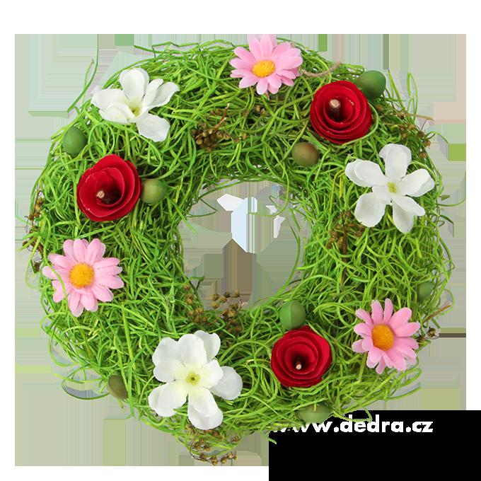 Květinový věnec dekorativní proutí a barevné květy