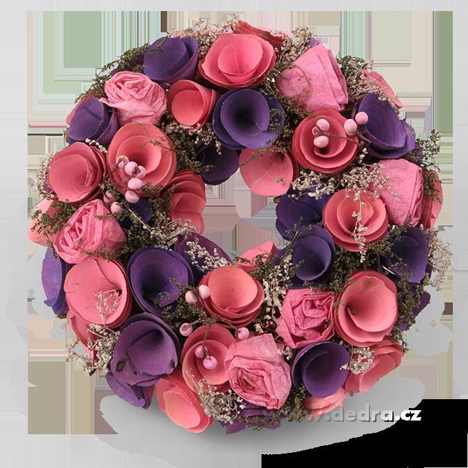 23 cm přírodně zdobený květinový věnec