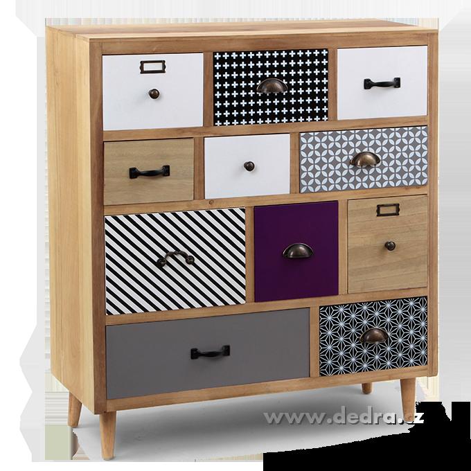 Komoda/skříň ELEGANT, s 11 šuplaty