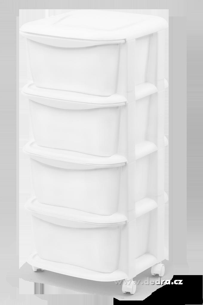 QUATRO čtyřpatrový regál se 4 boxy a kolečky bílý