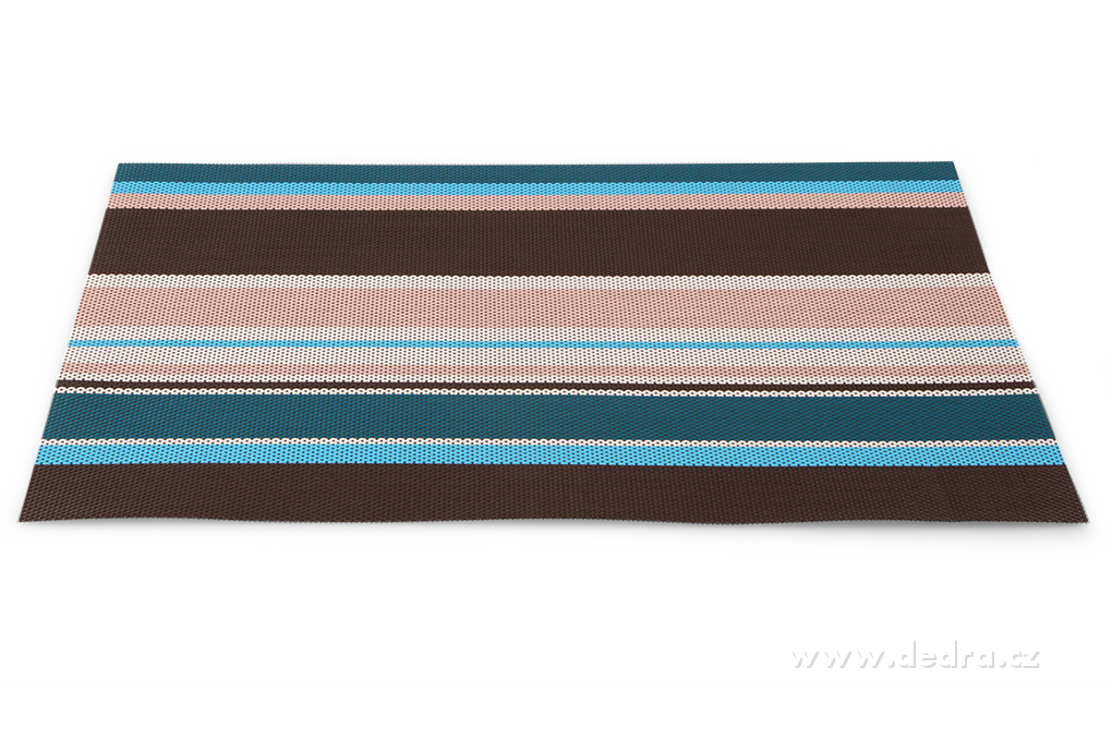Omyvatel.prostírání pruhované barevné hnědo-modro-krémové