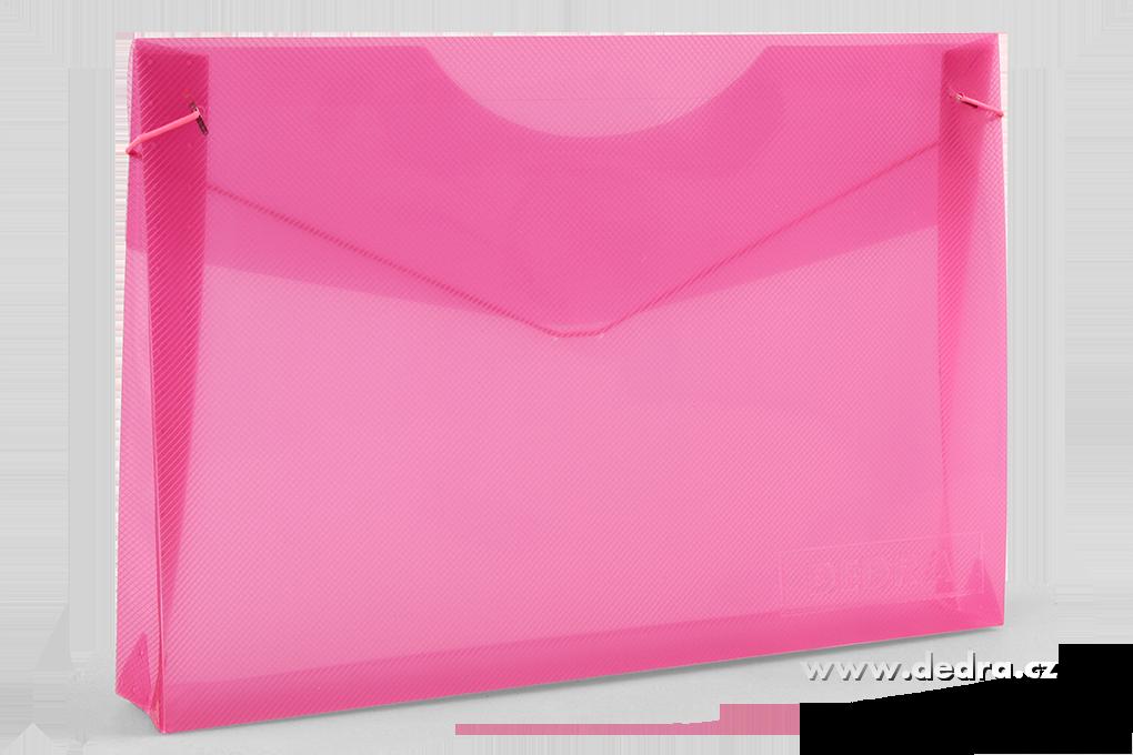 Spisové desky DEDRA z průhledného plastu růžové